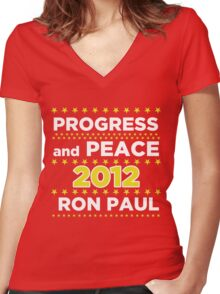 Progress and Peace - Ron Paul for President 2012 Women's Fitted V-Neck T-Shirt