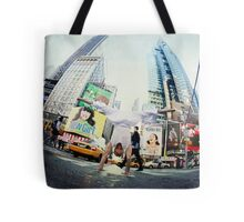 Yoga, handstand at Times Square, New York Tote Bag