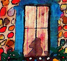 Kitty waiting at window, watercolor by Anna  Lewis