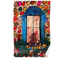 Kitty waiting at window, watercolor Poster