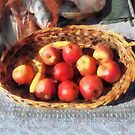 Apples and Bananas in Basket by Susan Savad
