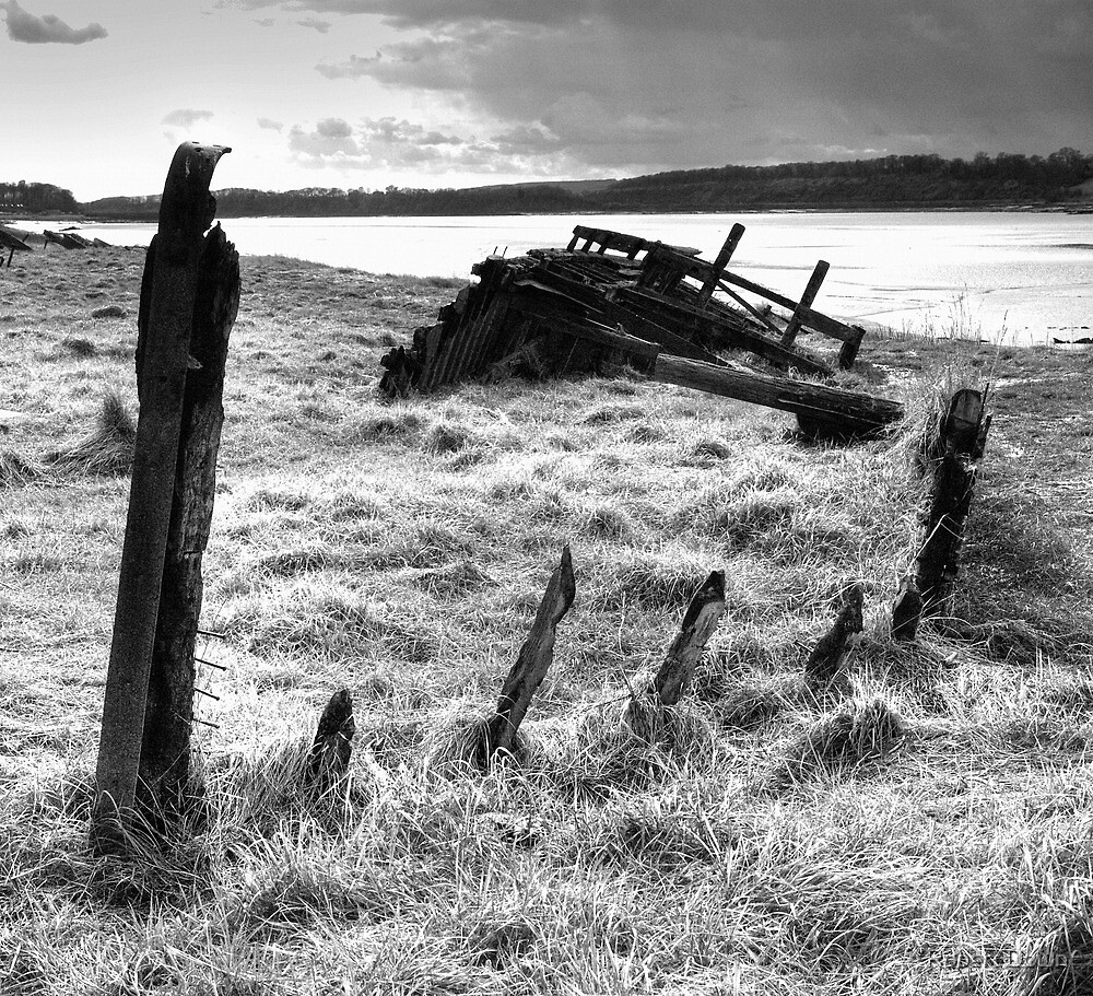 """Wreck of the """"Severn Collier"""" at Purton, Gloucestershire. by Robert Down"""