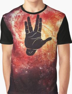 Spocks Hand Galaxy Graphic T-Shirt