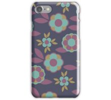 Dark Navy Blue Background Colorful Retro Flower Pattern iPhone Case/Skin