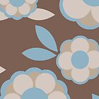 Blue and Brown Retro Wallpaper Flower Pattern by rozine