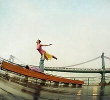 Acroyoga, flying next to Manhattan Bridge, New York by Wari Om  Yoga Photography