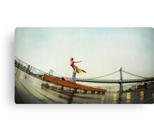 Acroyoga, flying next to Manhattan Bridge, New York Canvas Print