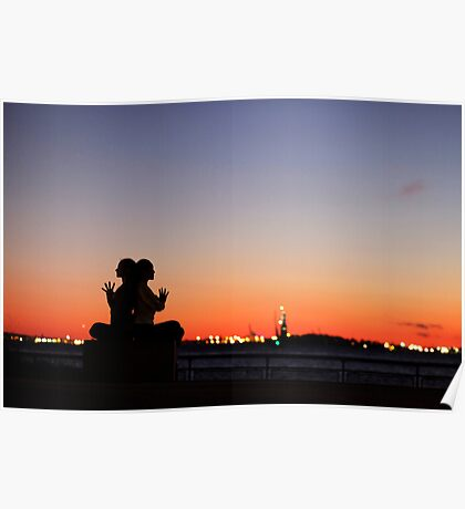 Sunset Yoga Meditation at New York City Poster