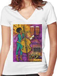 That Sistah on the Bass T-Shirt Women's Fitted V-Neck T-Shirt