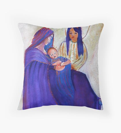 Jesus with Mary and angel Throw Pillow
