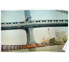 Acroyoga, flying next to Manhattan Bridge, New York Poster