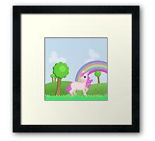 Cute Pink Pony Horse Cartoon Framed Print