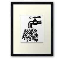 Drops of Water black and white pen ink drawing Framed Print