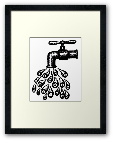 Drops of Water black and white pen ink drawing by Vitaliy Gonikman