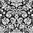 Vintage Damask Pattern in White and Black by ArtformDesigns