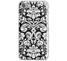 Vintage Damask Pattern in White and Black iPhone Case/Skin