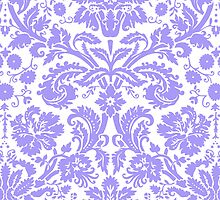 Vintage Damask Pattern in Lilac Purple and White by ArtformDesigns