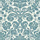 Vintage Damask Pattern in Juniper Blue-Green and Ivory by ArtformDesigns