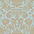 Vintage Damask Pattern in Aqua Blue and Khaki Beige by ArtformDesigns
