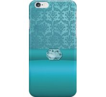 Vintage Damask Pattern in Teal with Ribbon and Pale Sapphire Gem iPhone Case/Skin