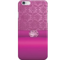 Vintage Damask Pattern in Pink with Ribbon and Rose Quartz Gem iPhone Case/Skin