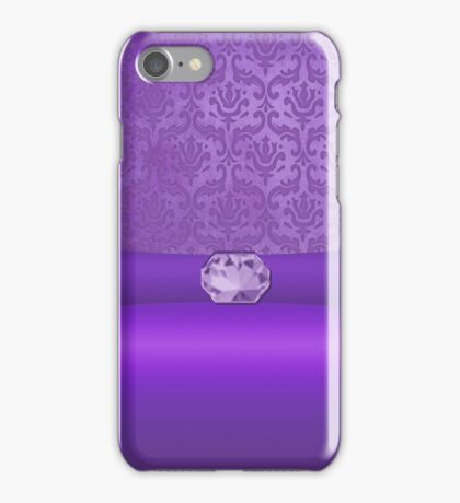 Vintage Damask Pattern in Purple with Ribbon and Amethyst Gem iPhone Case/Skin