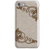 Faux Tooled Cream Leather with Scrolls in Brown iPhone Case/Skin