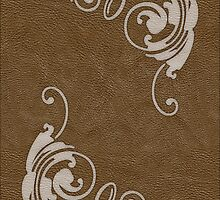 Faux Tooled Brown Leather with Scrolls in Cream by ArtformDesigns