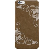 Faux Tooled Brown Leather with Scrolls in Cream iPhone Case/Skin
