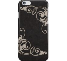 Faux Tooled Black Leather with Scrolls in Cream iPhone Case/Skin