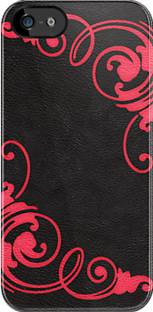 Faux Tooled Black Leather with Scrolls in Red by ArtformDesigns