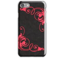 Faux Tooled Black Leather with Scrolls in Red iPhone Case/Skin