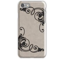 Faux Tooled Cream Leather with Scrolls in Black iPhone Case/Skin
