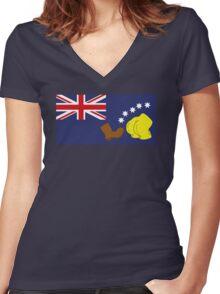 Australian Flag Women's Fitted V-Neck T-Shirt
