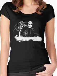 Skull on Dead Tree  Women's Fitted Scoop T-Shirt