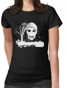 Halloween Skull on Dead Tree  Womens Fitted T-Shirt