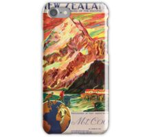 New Zealand Mt. Cook Vintage Travel Poster iPhone Case/Skin