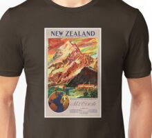 New Zealand Mt. Cook Vintage Travel Poster Unisex T-Shirt