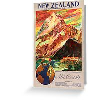 New Zealand Mt. Cook Vintage Travel Poster Greeting Card