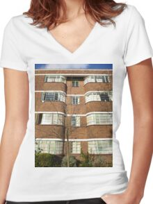 London Deco: Oman Court 1 Women's Fitted V-Neck T-Shirt