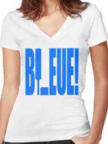 Steak: BLEUE! Women's Fitted V-Neck T-Shirt
