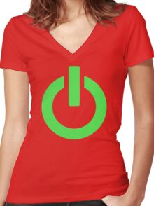 Power Button (green) Women's Fitted V-Neck T-Shirt