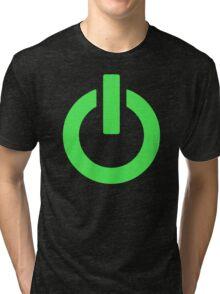 Power Button (green) Tri-blend T-Shirt