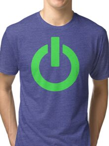 Power Button (green) Tri-blend T-Shirt