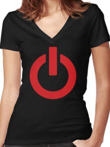 Power Button (red) Women's Fitted V-Neck T-Shirt