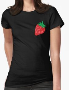 Cream Strawberries Pattern Womens Fitted T-Shirt