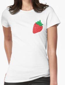 Cream Strawberries Pattern Womens Fitted T-Shirt