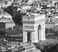 Arc di triomph from eiffel tower by Sam Tabone
