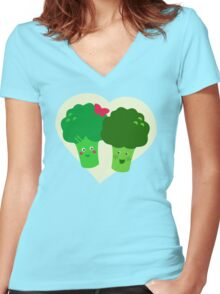 Broccoli in Love Women's Fitted V-Neck T-Shirt