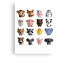 Cute Animals Collection Canvas Print
